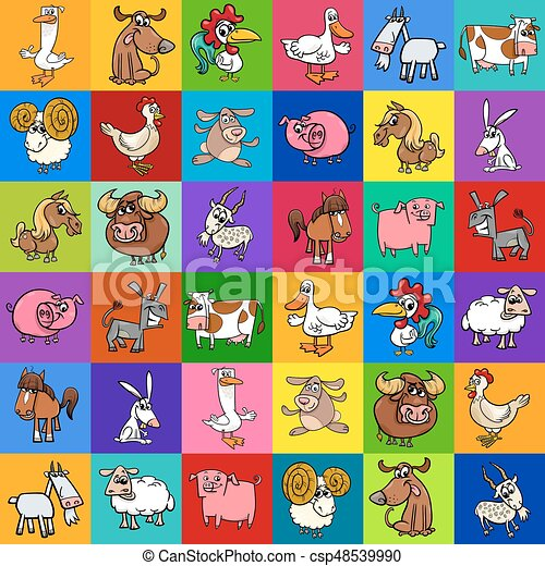 pattern design with cartoon farm animals - csp48539990