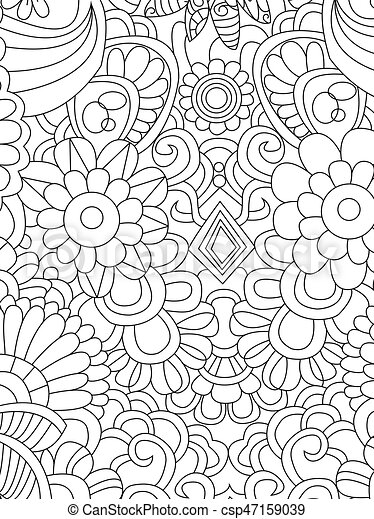 Pattern flower coloring vector for adults - csp47159039
