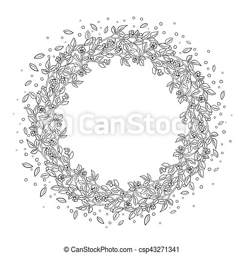 Pattern For Coloring Book Leaves Berries Ethnic Floral Retro Doodle Tribal Design Element Black And White Background Zentangle Patterns
