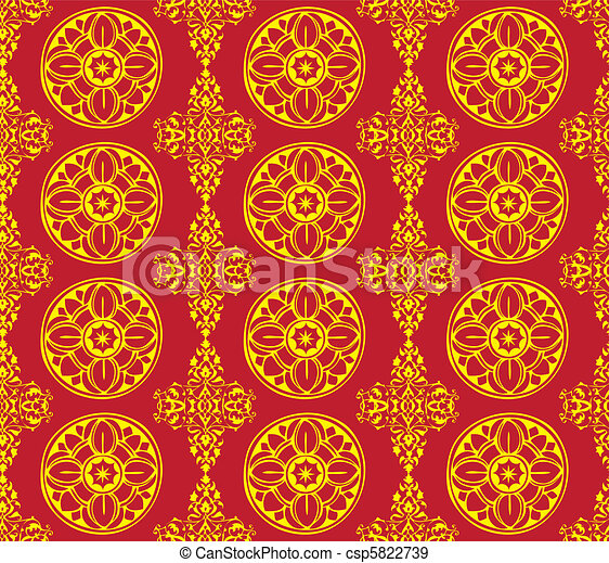 Pattern Gothic Seamless Red Wallpaper Eps Vectors