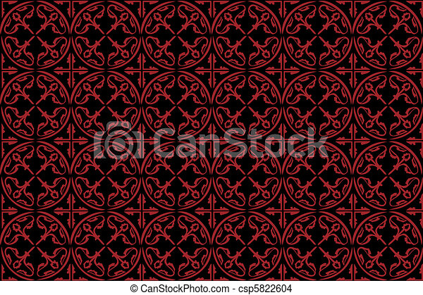 Pattern Gothic Seamless Red Wallpaper Eps Vector