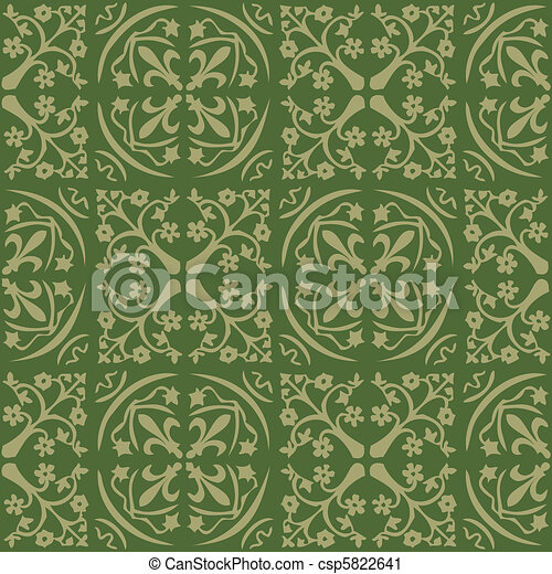 Pattern Gothic Seamless Green Wallpaper