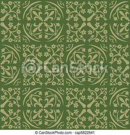 Pattern Gothic Seamless Green Wallpaper Vector Clip Art