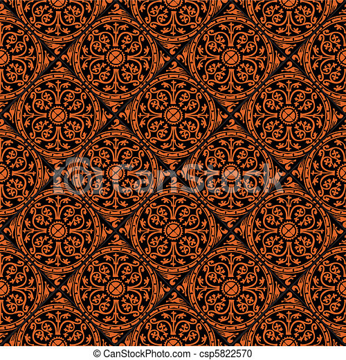 Pattern Gothic Seamless Red Wallpaper Vector Clipart
