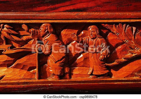 The wood japan pattern handmade wood carvings