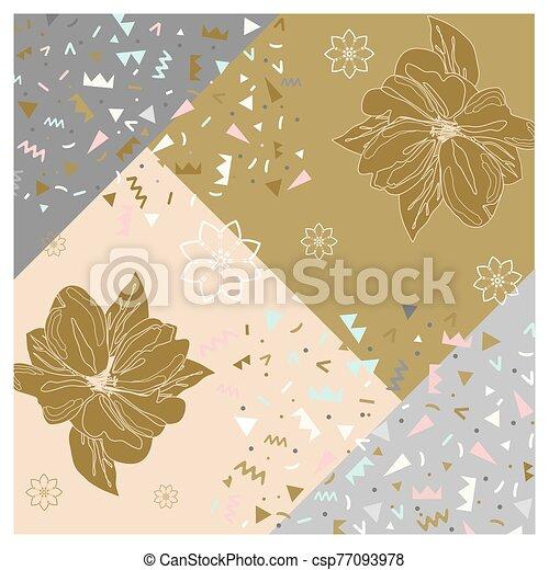 Pattern in calm colors gold delicate background bandana handkerchief with floral ornament. Original retro design of the scarf. - csp77093978