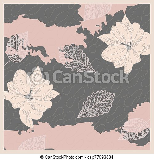 Pattern in calm colors pastel pink delicate background bandana handkerchief with floral ornament. Original retro design of the scarf. - csp77093834