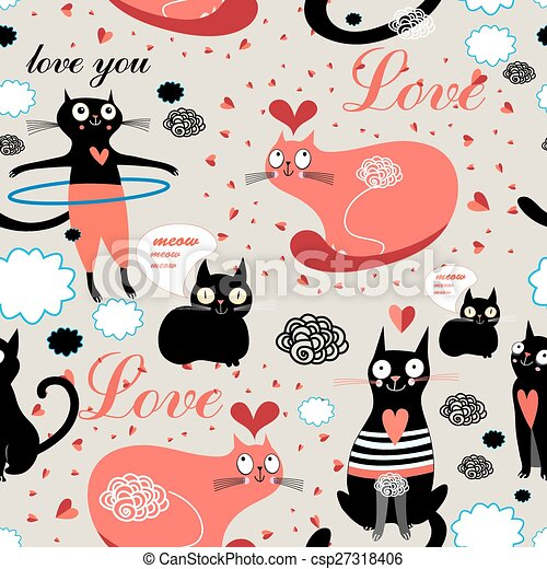 pattern lovers cats - csp27318406