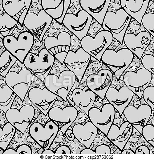 Pattern Made From Collection Of Different Heart Symbols Doodle