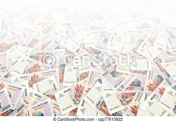 Pattern of 1000 Cambodian riels banknote is national currency of Cambodia - csp77610922