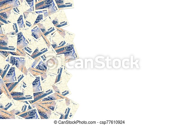 Pattern of 1000 Cambodian riels banknote is national currency of Cambodia - csp77610924