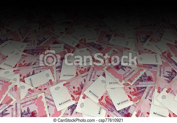 Pattern of 500 Cambodian riels banknote is national currency of Cambodia - csp77610921