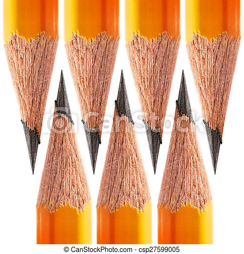 macro pattern of a sharpened pencil on a white background
