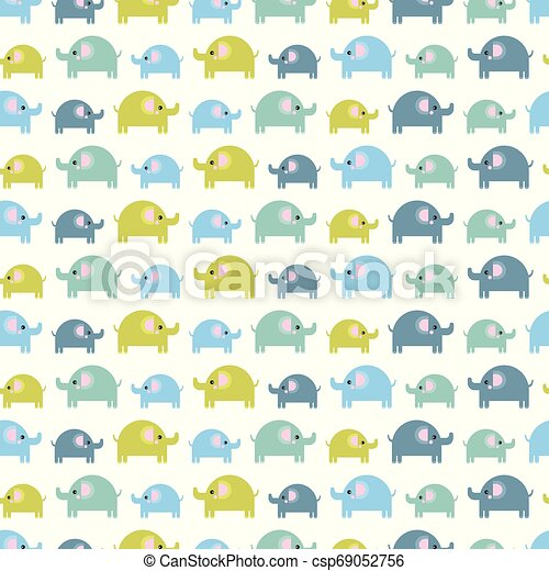 Pattern of beautiful elephants. Pattern Background with elephants. Children's drawing. Background of cute elephants - csp69052756