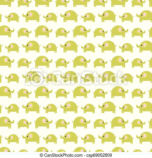 Pattern of beautiful elephants. Pattern Background with elephants. Children's drawing. Background of cute elephants - csp69052809