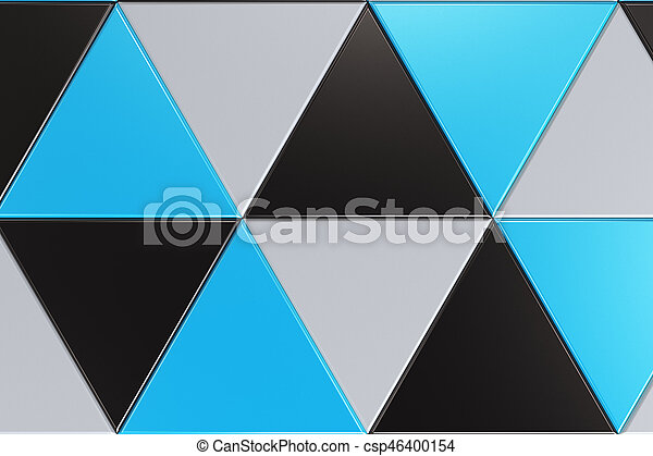 Pattern Of Black White And Blue Triangle Prisms