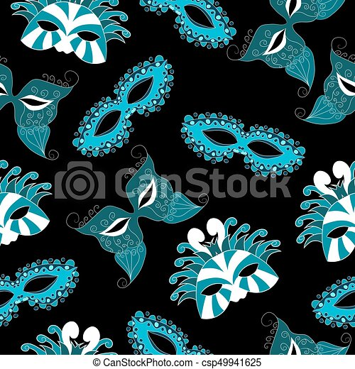 pattern of carnival masks. vector illustration. Drawing by hand. - csp49941625