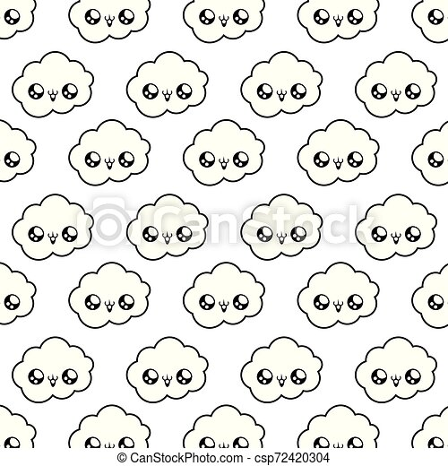 pattern of cute clouds kawaii style - csp72420304