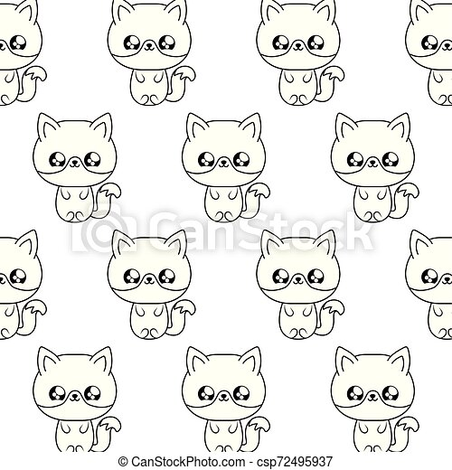 Pattern Of Cute Foxes Baby Animals Kawaii Style Vector Illustration Design