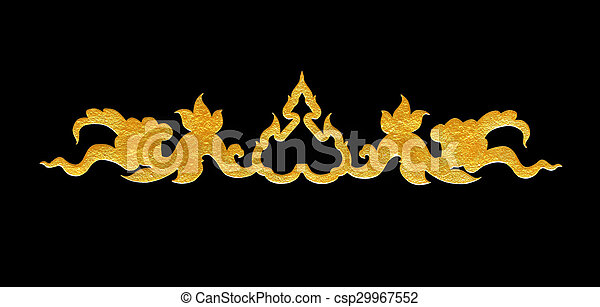 Pattern of flower carved frame on black  background - csp29967552