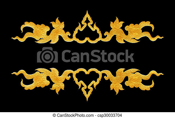 Pattern of flower carved frame on black  background - csp30033704