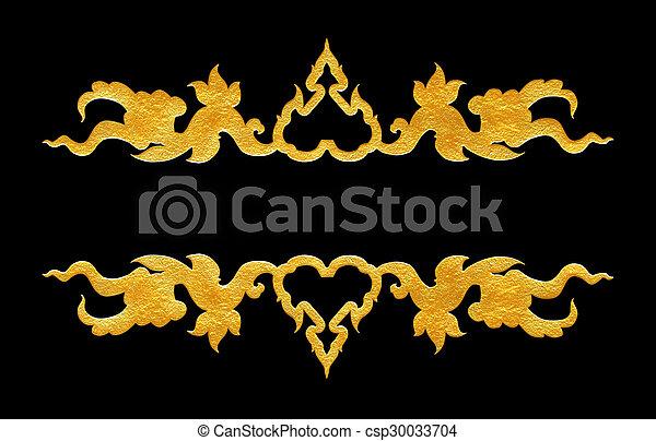 Pattern of flower carved frame on black  background - csp30033704