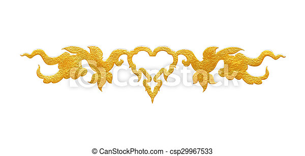 Pattern of flower carved frame on white background - csp29967533