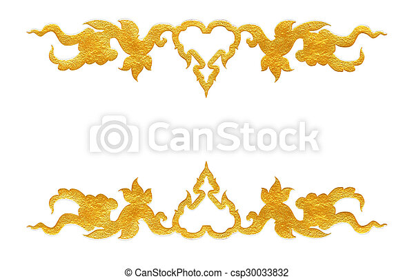 Pattern of flower carved frame on white background - csp30033832