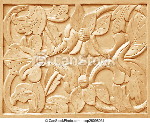 Pattern of flower carved - csp26098031