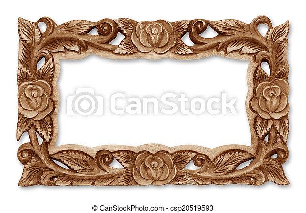 Pattern of flower carved wooden frame - csp20519593