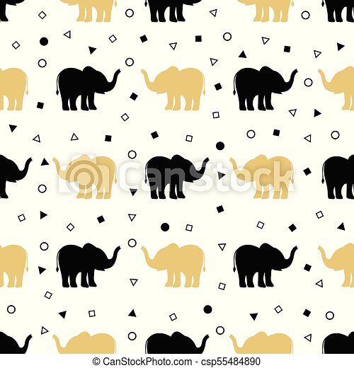 pattern of golden and black elephants - csp55484890