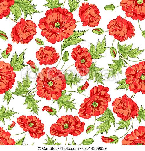 pattern of poppy flowers pattern of poppy flowers on a white