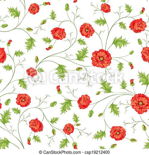 Pattern of poppy flowers - csp19212400