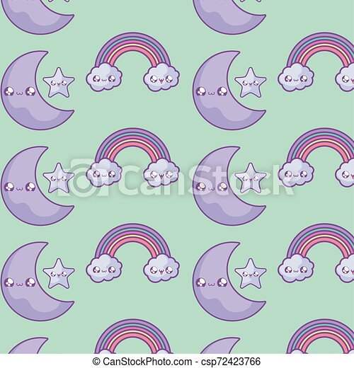 pattern of rainbow with clouds and moon kawaii style - csp72423766