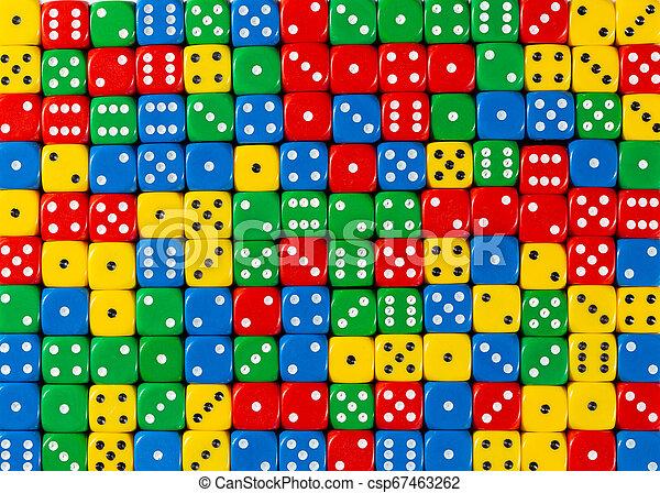 Pattern of random ordered red, yellow, green and blue dices - csp67463262