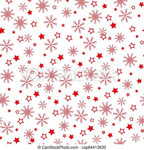 Pattern of red snowflakes on a light background. Snowflake vector pattern. - Vector - csp64413630