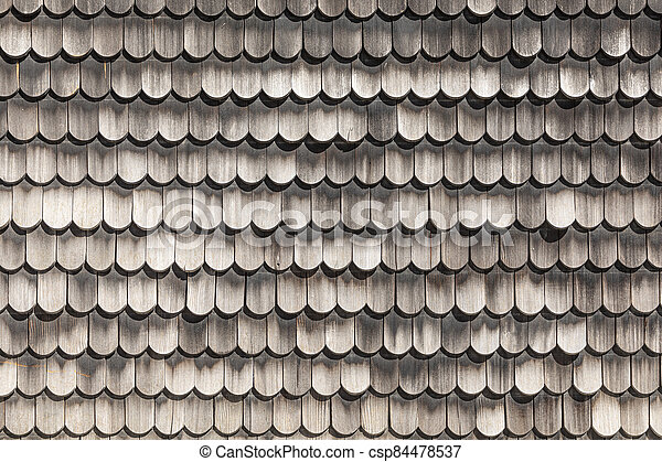 pattern of weathered wooden shingles - csp84478537