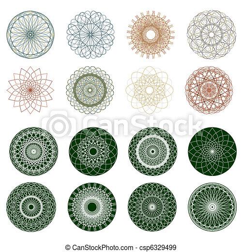 Pattern rosette guilloche for document. EPS 8 - csp6329499