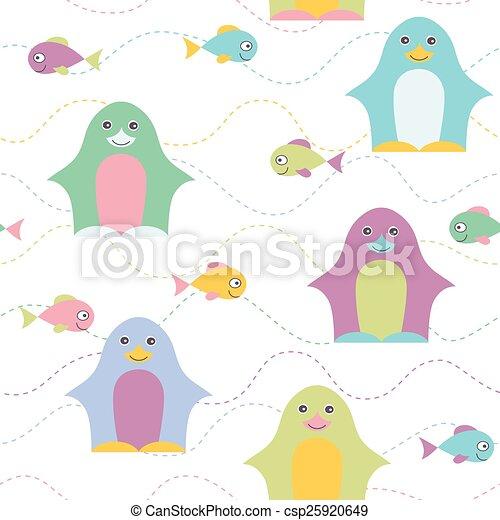 pattern., seamless, manchots - csp25920649