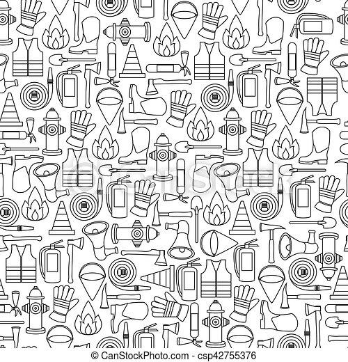 Pattern seamless of line firefighting equipment vector illustration - csp42755376