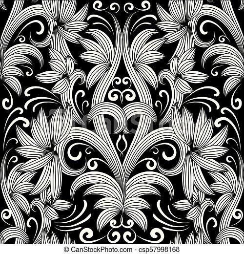 Patrón blanco y negro floral sin costura. Trasfondo Vector - csp57998168