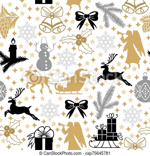 Pattern seamless with Christmas symbols - csp75645781