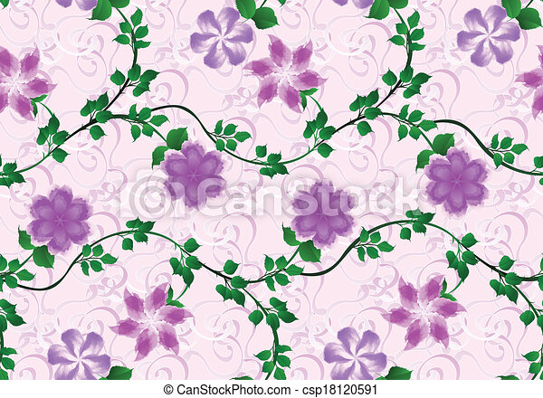 pattern with bright lilac flowers on pink background - csp18120591