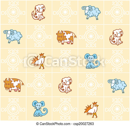pattern with cartoon animals - csp20027263