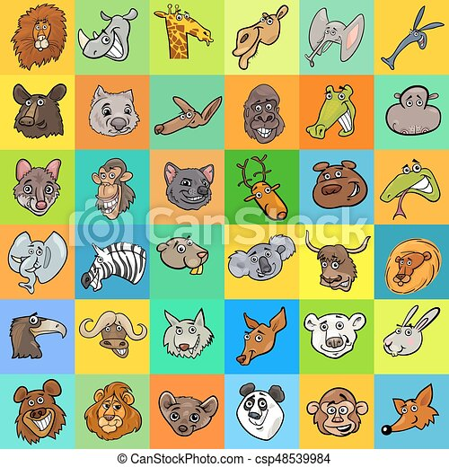 pattern with cartoon animals design - csp48539984