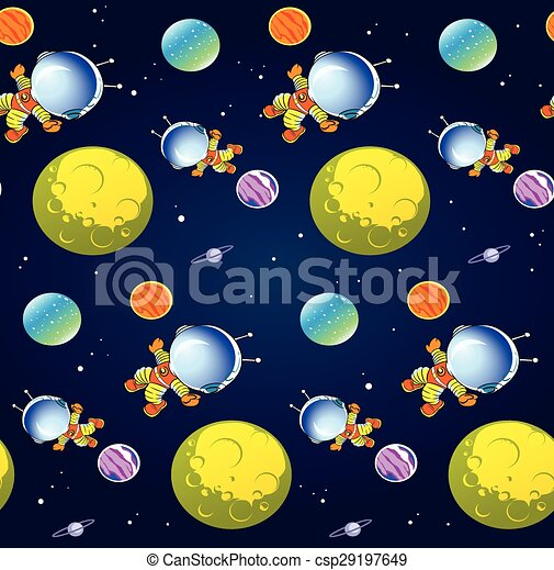 Pattern with cartoon astronaut - csp29197649