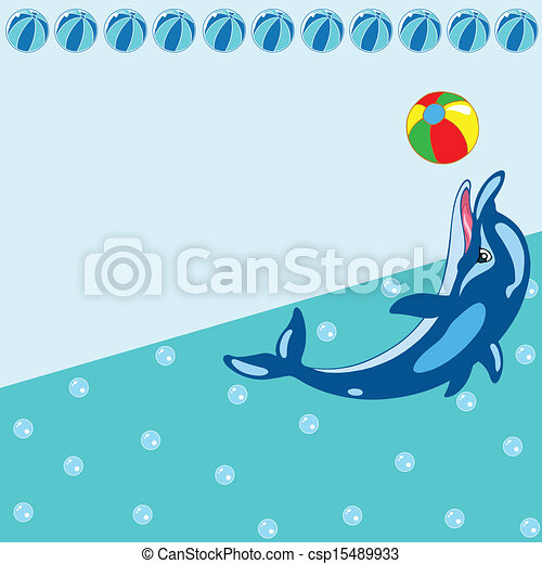 Pattern with cartoon dolphin - csp15489933