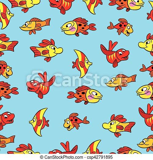 pattern with cartoon fish - csp42791895