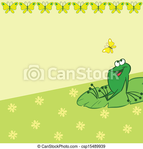 Pattern with cartoon frog and butte - csp15489939