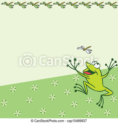 Pattern with cartoon frog - csp15489937